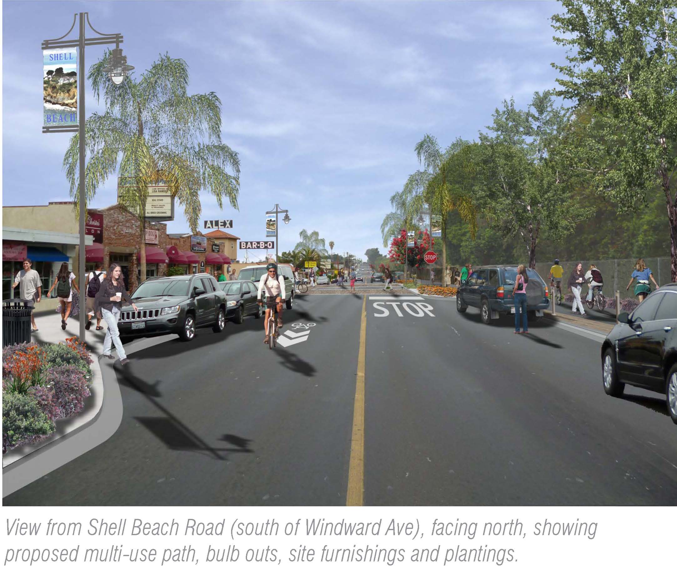 View from Shell Beach Road (south of Windward Avenue), facing north, showing proposed multi-use path